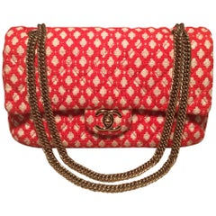 Chanel Red and White Printed Tweed 2.55 Double Flap Classic Shoulder Bag
