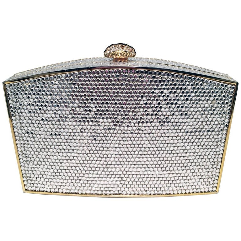 Judith Leiber Clear Swarovski Crystal Minaudiere Evening Bag Clutch For Sale