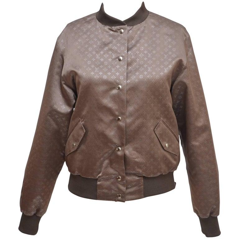 Louis Vuitton Silk Monogram Bomber Jacket Size 38,  New