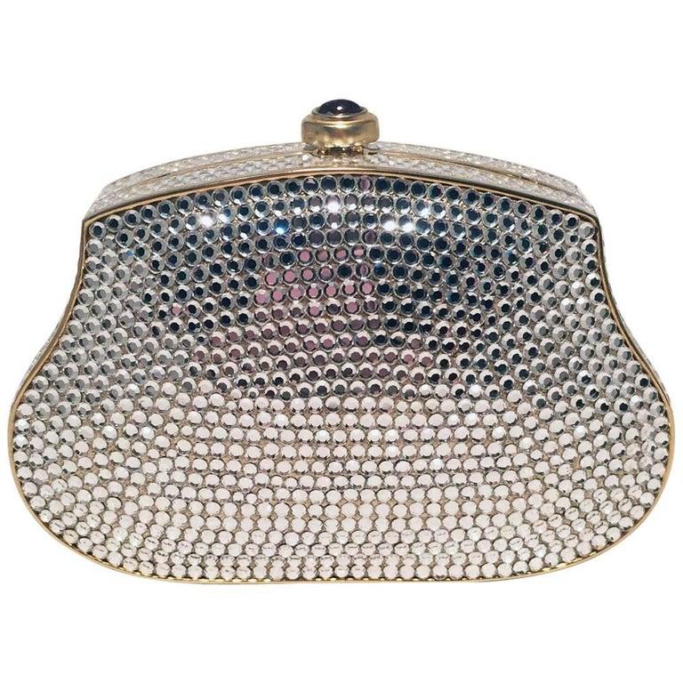 Judith Leiber Clear Swarovski Crystal Mini Minaudiere Evening Bag Clutch
