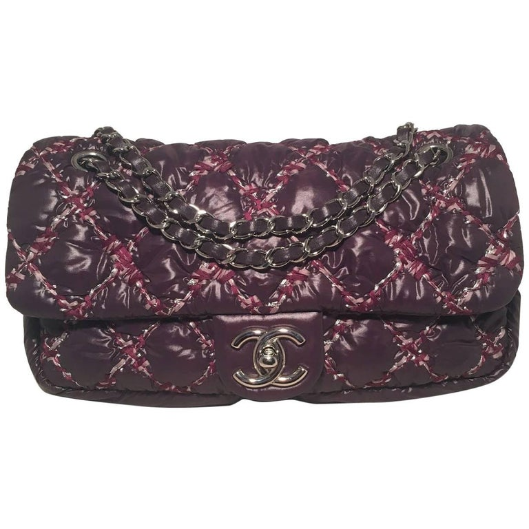 Chanel Plum Purple Quilted Puffy Nylon Classic Flap Shoulder Bag