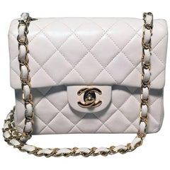 Chanel White Quilted Leather Mini Classic Flap Shoulder Bag
