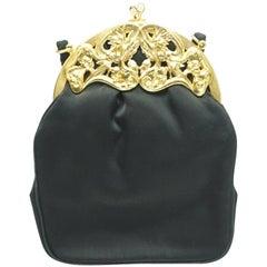 Rosenfeld Black Silk Handbag w/ Gold Frame-Circa 50's