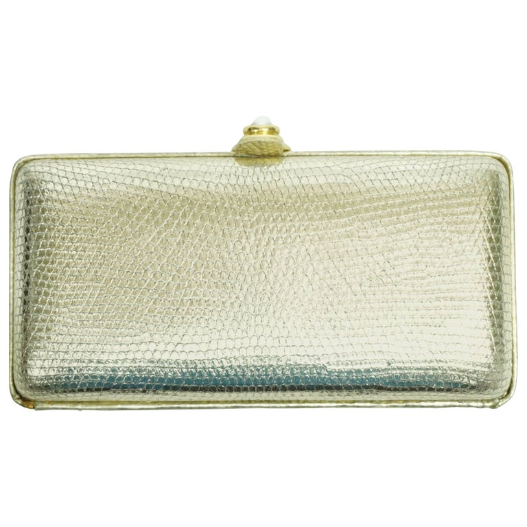 Oscar De La Renta Lizard Embossed Gold Leather Box Clutch with Pearl Closure