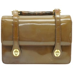 Gucci Brown and Lavender Patent Leather Bamboo Top Handle Handbag - Circa 70's