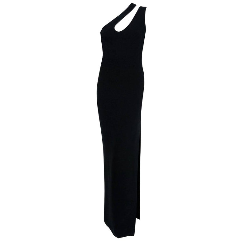 1979 Galanos Couture Black Silk Asymmetric One Shoulder Cut-Out High Slit Gown