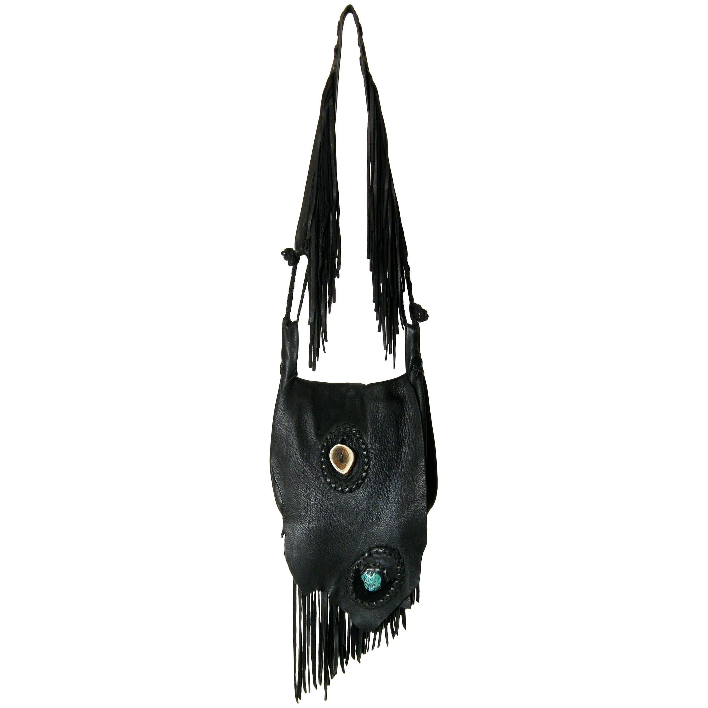 1stdibs Laced Leather Cross Body Shoulder Bag With Fringed Strap c7nEpeYCG