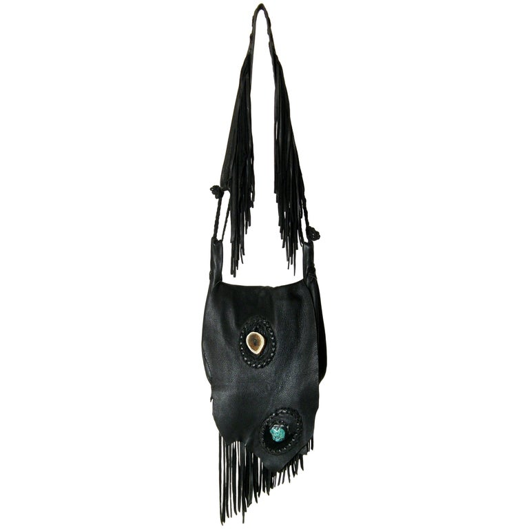 Laced Leather Cross Body Shoulder Bag with Fringed Strap