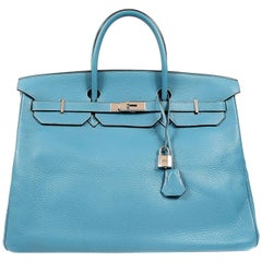 Hermes Blue Jean Togo 40 cm Birkin Bag with PHW