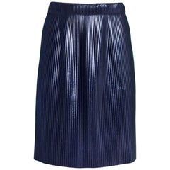 Golden Goose Navy Liza Coated Plisse Skirt Sz XS