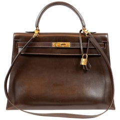 Hermes Chocolate Box Calf 35 cm Vintage Kelly Bag