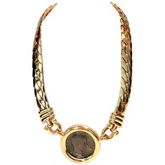 1980s Gold-Plate Omega Roman Coin Choker Necklace by Carolee