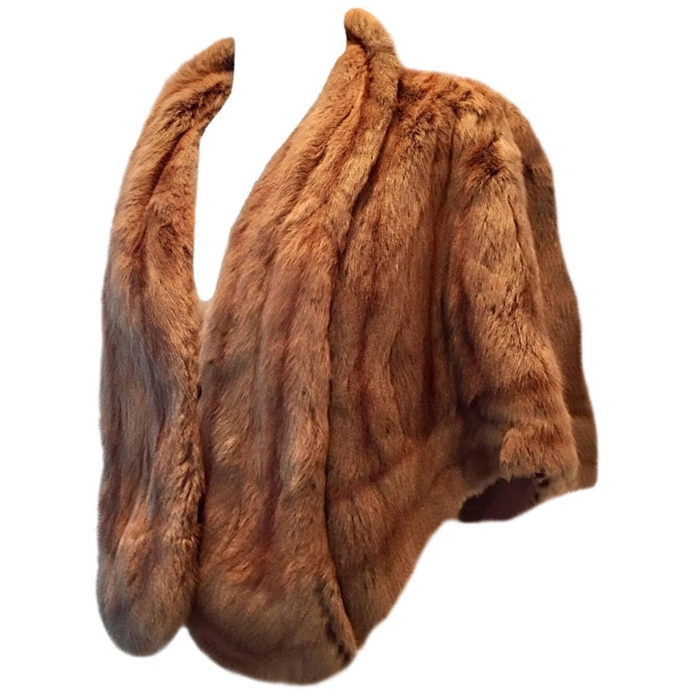 Vintage Whiskey Dyed Rabbit Fur Stole Capelet