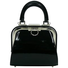 Christian Dior Vintage Black Patent Micro Mini Doctor Style Handbag