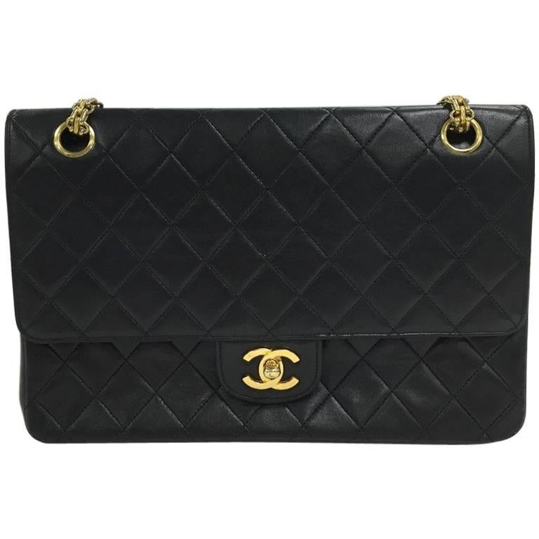 15486deeedffc9 Chanel Vintage Bijoux Chain Double Flap Bag Quilted Lambskin Medium For Sale