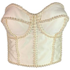 NWT S/S 1992 Dolce & Gabbana Runway Ivory Pearl Embellished Corset Bustier Top