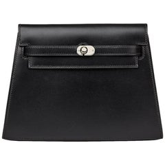 2000 Hermes Black Box Calf Leather Crutch Clutch