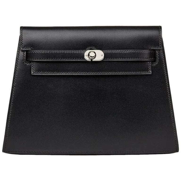 2000 Hermes Black Box Calf Leather Kelly Danse Clutch