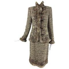 Oscar de la Renta jewel and fur trim soft tweed knit skirt set