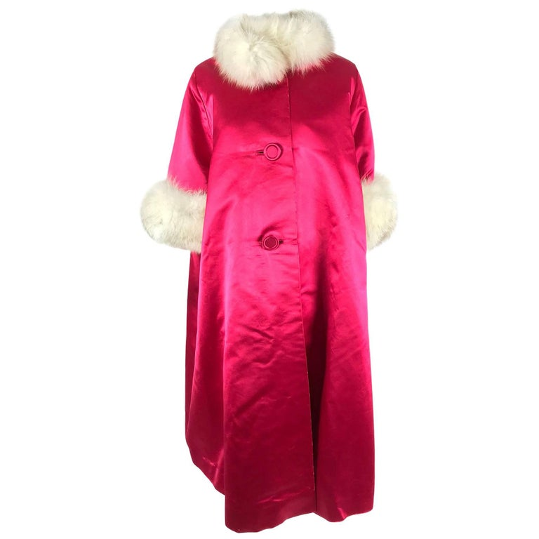 Candy Apple Red Silk Slipper Satin Fox Fur Trimmed Evening Coat 1960s