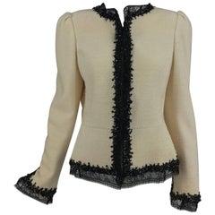 Oscar de la Renta winter white boucle jacket black lace and beaded trim