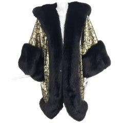 Amen Wardy Gold Metallic brocade and black fox fur trim cocoon coat 1980s