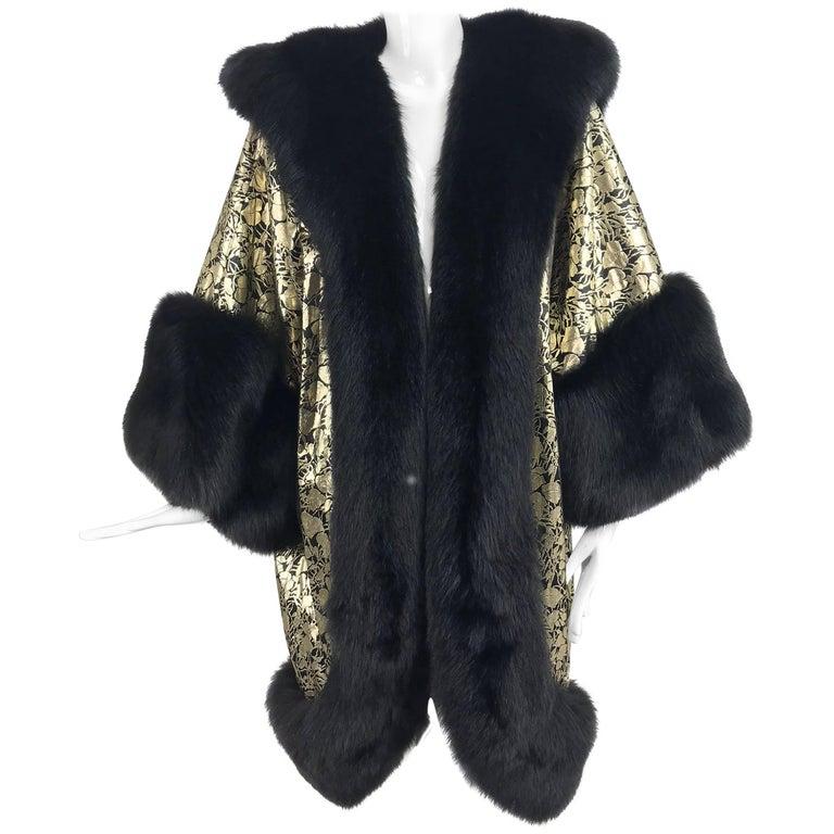 Amen Wardy Gold Metallic brocade and black fox fur trim cocoon coat 1980s For Sale