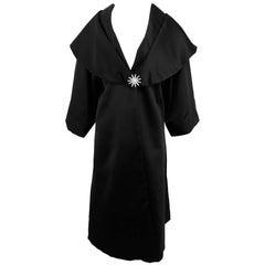 Carol Mignon Boutique Black Portrait collar jewel evening coat 1980s