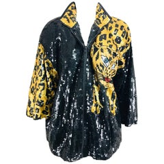 Modi Novelty Sequined Leopard Bomber jacket 1980s