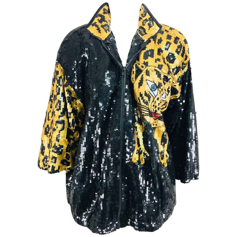 Modi Novelty Sequined Leopard Bomber jacket 1980s 1