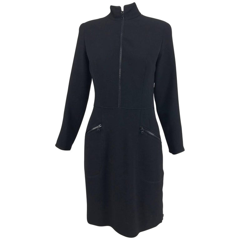 Valentino Vintage fitted black wool twill big zipper dress 1990s  For Sale