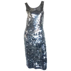 Silver sequin disco backless dress