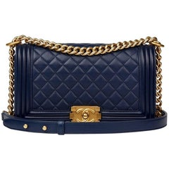 2016 Chanel Navy Quilted Lambskin Medium Le Boy