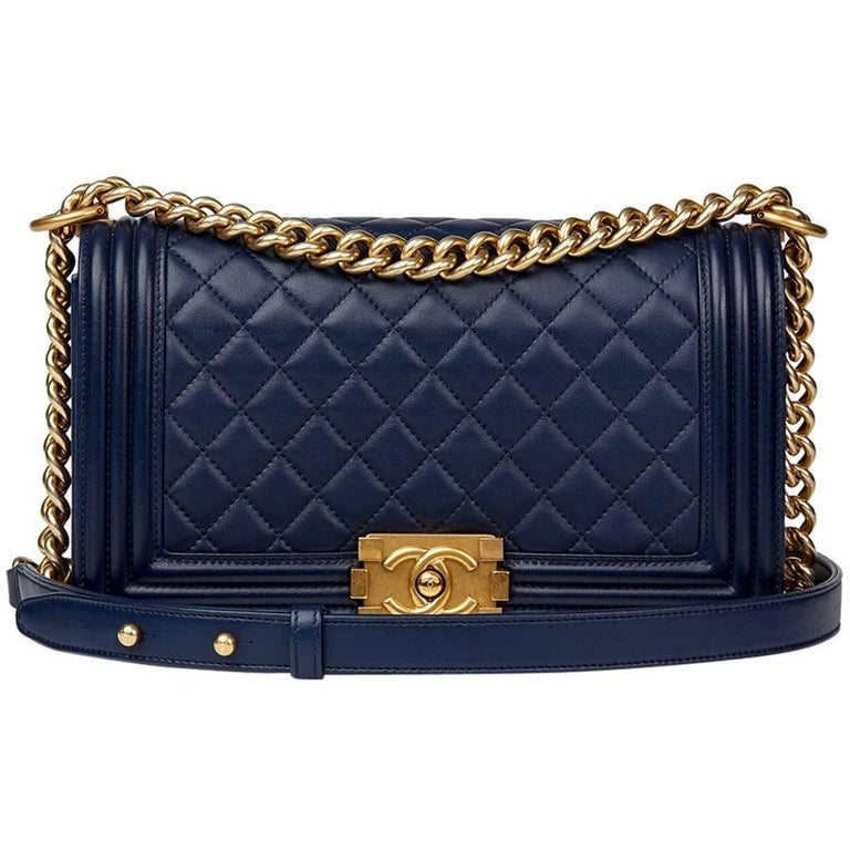 2016 Chanel Navy Quilted Lambskin Medium Le Boy For Sale