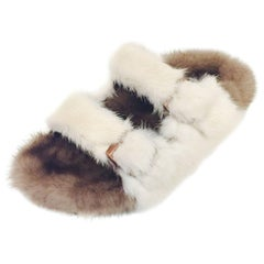 Bold Birkenstock Classic Sandals With Beige & Brown Sheepskin and Mink Fur
