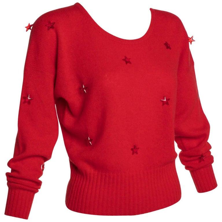 1980s Krizia Red Wool Angora Lucite Star Beads Sweater