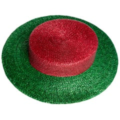 1980s Yves Saint Laurent YSL Vintage Glossy Red and Green Straw Hat