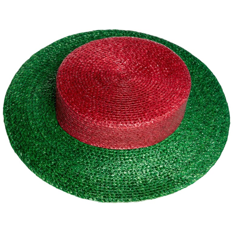 ac5aa5a9b13 1980s Yves Saint Laurent YSL Vintage Glossy Red and Green Straw Hat For Sale