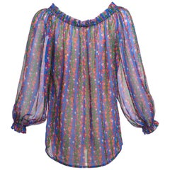 1977 Yves Saint Laurent Floral Silk Chiffon Peasant Blouse Documented