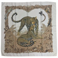 "Hermes Jungle Love by Robert Dallet creamy white silk twill scarf 35"" x 35"""