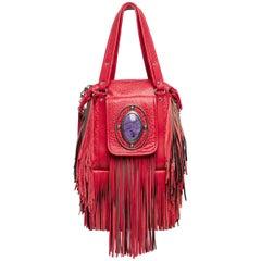 2008 Etro Runway Campaign Red Leather Fringe Shoulder Bag