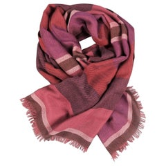 LORO PIANA Raspberry & Burgundy Striped Cashmere - Silk Shawl