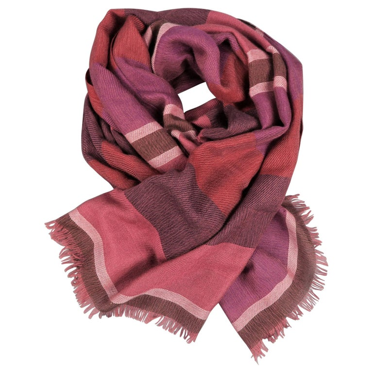 LORO PIANA Raspberry & Burgundy Striped Cashmere - Silk Shawl For Sale