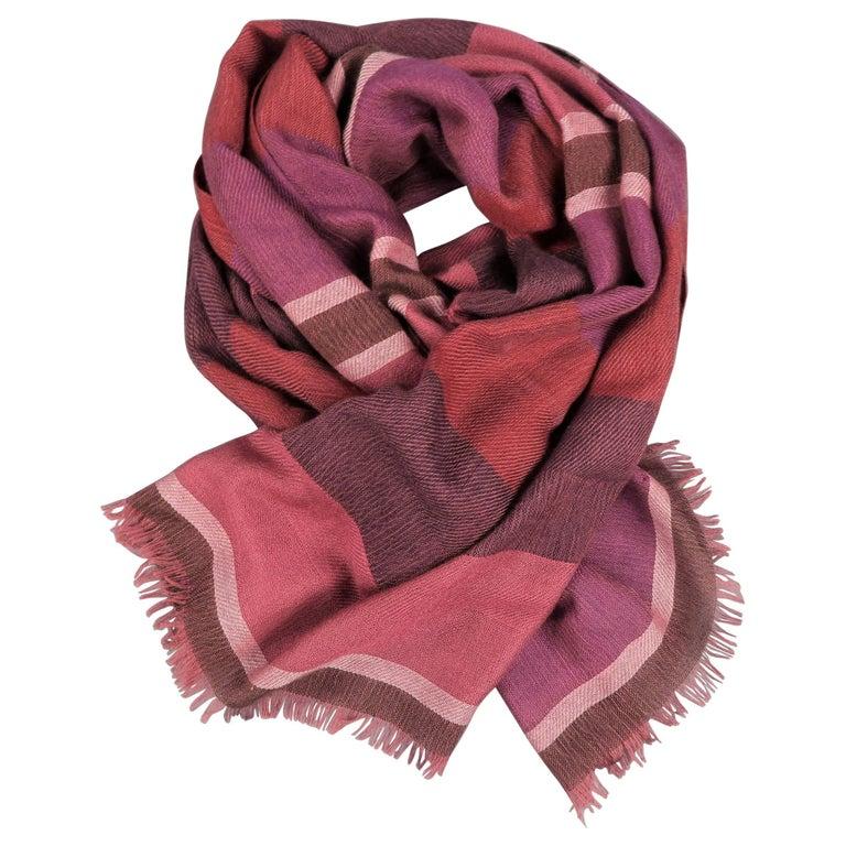 LORO PIANA Raspberry & Burgundy Striped Cashmere - Silk Shawl