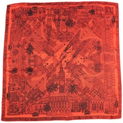 Dunhill Red and Black San Francisco Silk Scarf