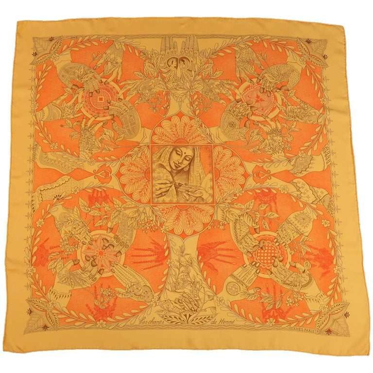 "Hermes Orange ""Les Chants du Henne"" Henna Artist Silk Scarf; 1"
