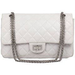 Chanel Reissue 227  White Leather Very Good Condition