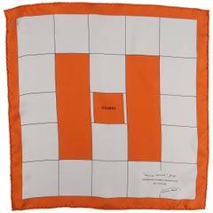 HERMES Orange & Cream H D'Inauguration Juin Silk Pocket Square
