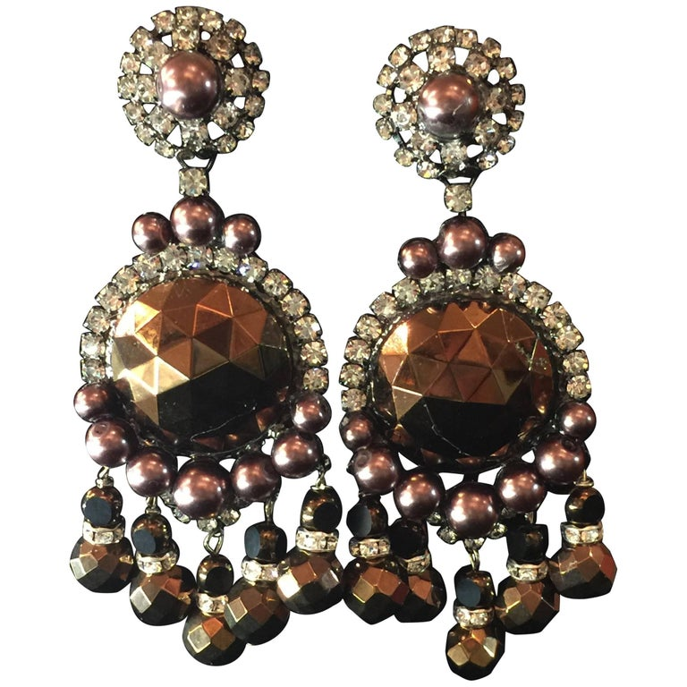 Vrba Chocolate Brown Pearlized Faceted Copper Huge Drop Clip On Earrings For
