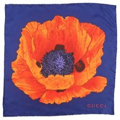GUCCI Navy & Orange Silk Flower Pocket Square
